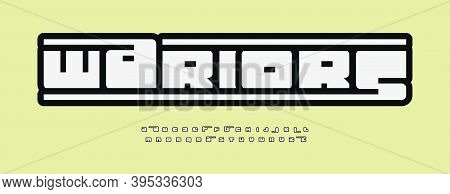 Modern Modular Alphabet, White Letters With Black Outline, Geometric Minimal Style Type For Modern A