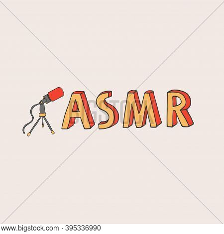 Asmr Logo, Emblem Including Microphone Recording Stimulational And Relaxing Sounds For Good Sleep Or
