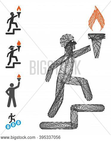 Vector Network Soldier Climbing With Torch. Geometric Linear Carcass 2d Network Made From Soldier Cl