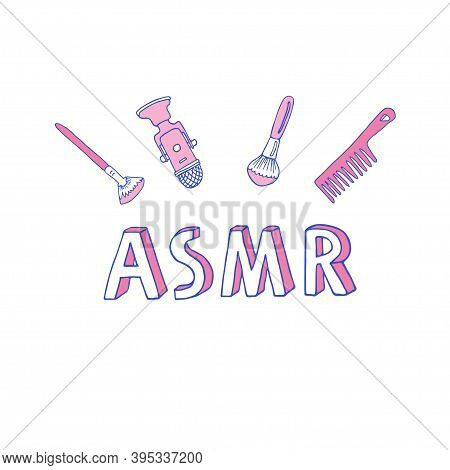 Asmr Logo, Emblem Including Equipment. Microphone And Brushes To Make Stimulational Sounds. Autonomo