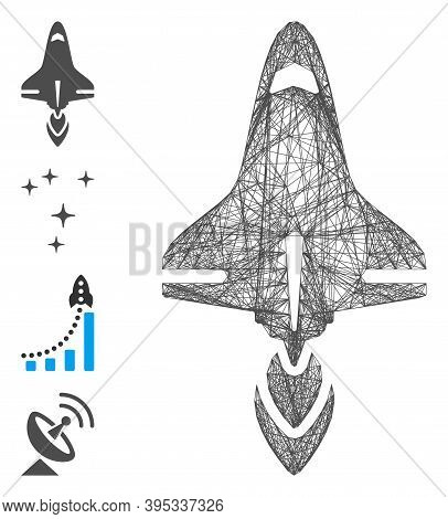 Vector Wire Frame Space Shuttle. Geometric Hatched Frame Flat Net Generated With Space Shuttle Icon,