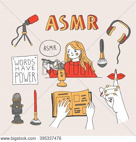 Asmr Triggers And Equipment Set. Young Woman Recording Asmr Sounds Using A Brush To Create Content F
