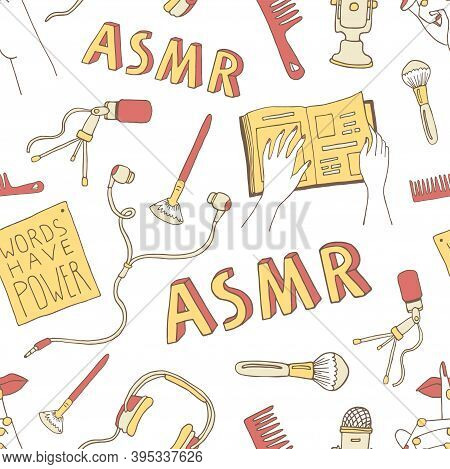 Asmr Concept Seamless Pattern. Cartoon Background With Asmr Triggers And Equipment For Recording Rel