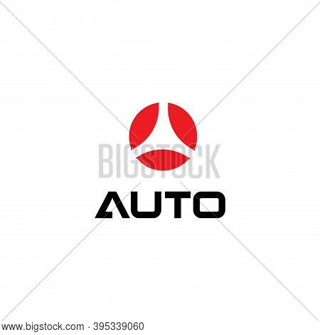 Red Semicircles In Circle Shapetarget Symbol , Isolated Icon On White Background. Round Automotive L