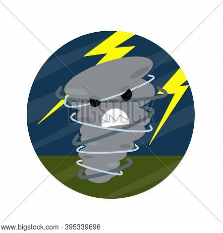 Tornadoes And Strong Winds. Storm Bad Weather. Hurricane With Lightning. Whirlwind With Face.