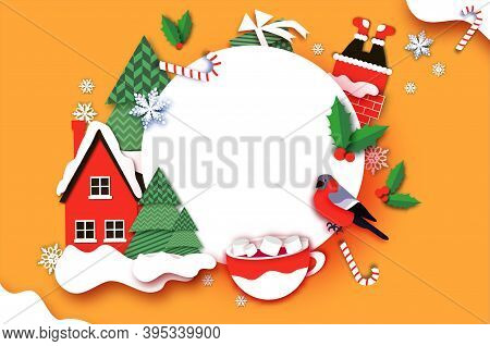 Merry Christmas Greetings Card With Christmas Tree, Country Home, Gift. Hot Cocoa With Marshmallows