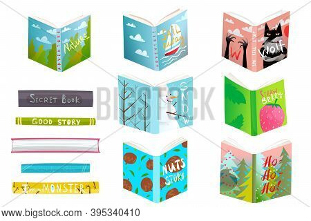 Children Books Library With Funny Hand Drawn Covers. Education And Leisure Reading And Studying Desi