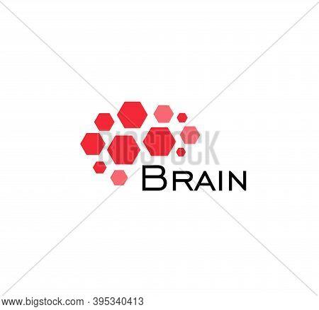 Brain Abstract Icon. Hexagonal Shapes, Geometric Brain Hemisphere. Simple Flat Abstract Logo Templat