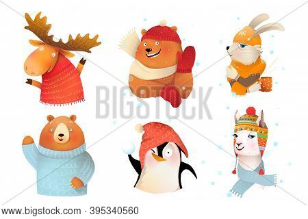 Winter Holidays Animals Collection Wearing Wool Knitted Warm Clothes. Bear Moose Bunny Penguin And L