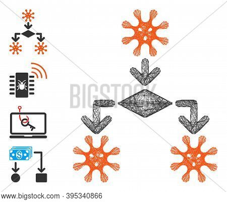 Vector Wire Frame Virus Reproduction. Geometric Wire Frame Flat Net Generated With Virus Reproductio