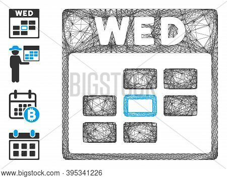 Vector Wire Frame Wednesday Calendar Grid. Geometric Wire Frame 2d Network Generated With Wednesday