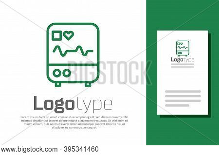 Green Line Computer Monitor With Cardiogram Icon Isolated On White Background. Monitoring Icon. Ecg