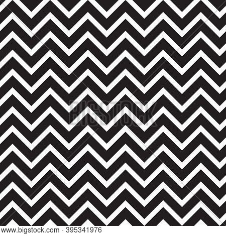 Seamless Pattern With Black Zigzag Horizontal Stripes. Good Calm Design For Scrapbooking Or Wrapping