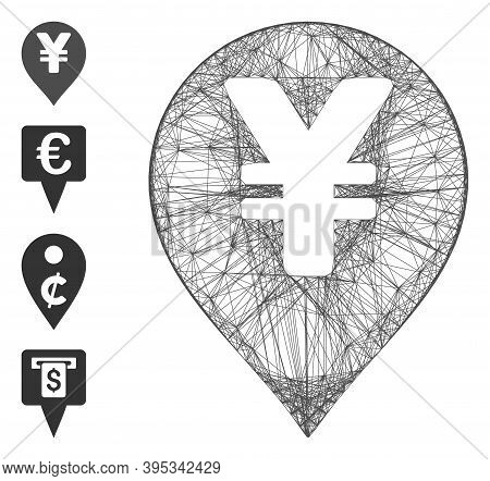 Vector Wire Frame Yen Map Marker. Geometric Wire Frame Flat Network Made From Yen Map Marker Icon, D
