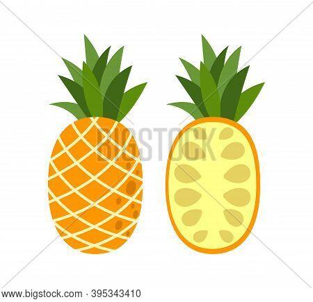Pineapple. Illustration Of Pineapple Fruit With Isolated Cartoon Style On White. Whole Fresh, Ripe P