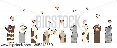 Cat Paws. Cute Kitten Paw, Cats Claws And Funny Domestic Pets Foot With Little Heart For Valentines
