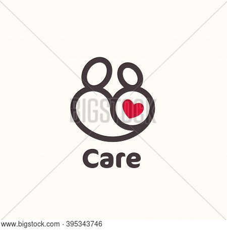 Mother And Baby With Red Heart Logo Concept In Modern Lineart Style. Simple Symbol For Child And Mot