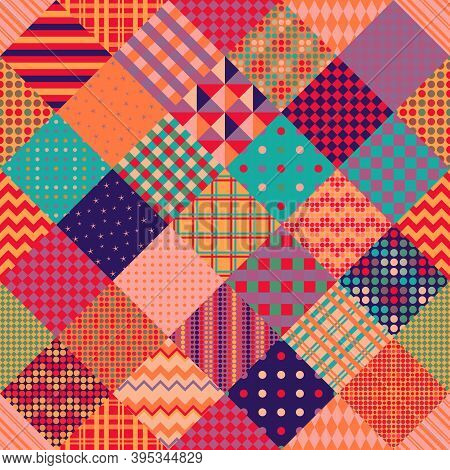 Multicolor Patchwork Pattern. Seamless Vector Design. Bright Print For Fabric.