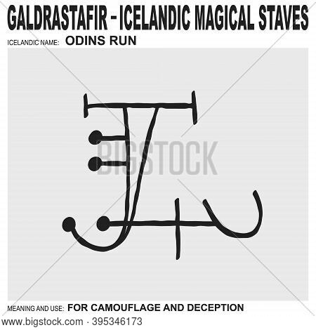 Vector Icon With Ancient Icelandic Magical Staves Odins Run. Symbol Means And Is Used For Camouflage