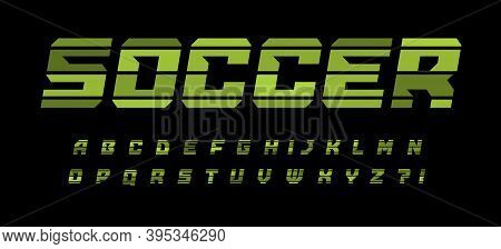 Striped Style Alphabet For Soccer And Football Modern Logo, Banner And Poster. Green Geometrical Fon