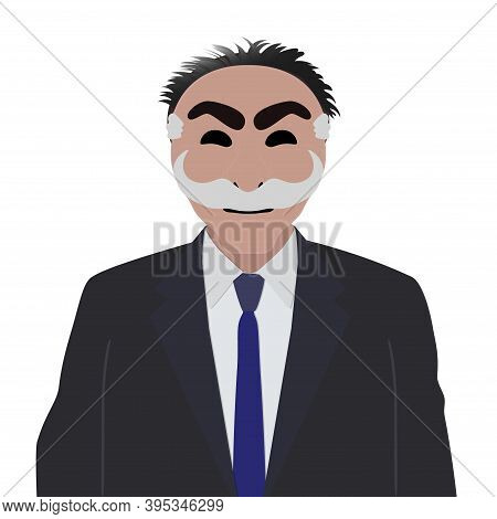 Businessman In A Suit With Anonymous Mask On A White Background.portrait Of Computer Hacker In Hoodi