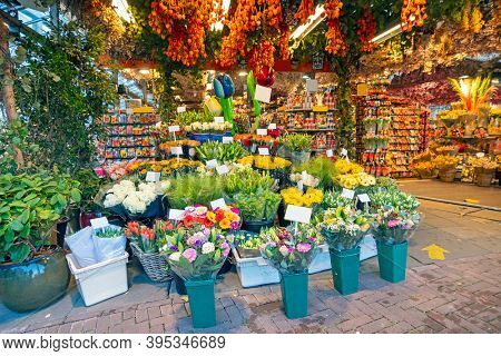Flower shop at the Bloemmarkt in Amsterdam the Netherlands