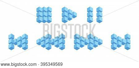Multimedia Interface Buttons From 3d Cubes, Volumetric Buttons From Blue Squares. Forward, Backward,