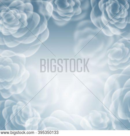 Floral romantic tender blue background