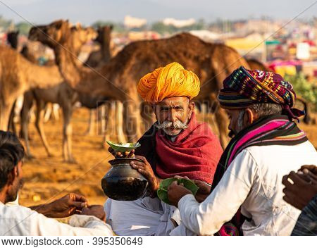 November 2019 Pushkar,rajasthan,india. A Old Man Drinking Milk Of Camel.farmers And Traders From All