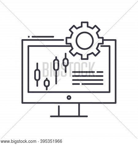 Computer Trader Icon, Linear Isolated Illustration, Thin Line Vector, Web Design Sign, Outline Conce