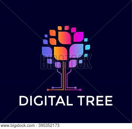 Digital Tree Logo, Colorful Tree Icon, Colored Leaf, Computer Data Base, Flat Logo Template, Minimal