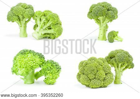 Collection Of Fresh Green Broccoli Isolated On A White Cutout