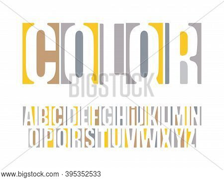 Logo Font. Color Vector Typography. Headline Alphabet. Original Negative Space Type. Modern Yellow L