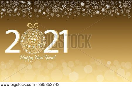 Happy New Year 2021 Greeting Gold Design. Vector Illustration With Date 2021 And Text
