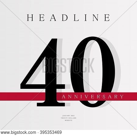 40th Anniversary Banner Template, Journal Cover Design Template, Fortieth Jubilee Release, Business