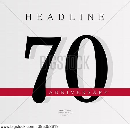 70th Anniversary Banner Template, Journal Cover Design Template, Seventieth Jubilee Release, Busines