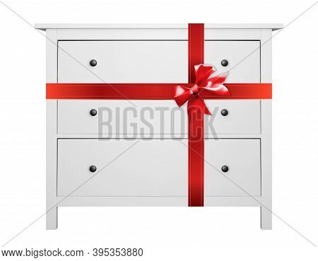 House Furniture - Modern Commode Gift Tied Red Bow Isolated White Background.