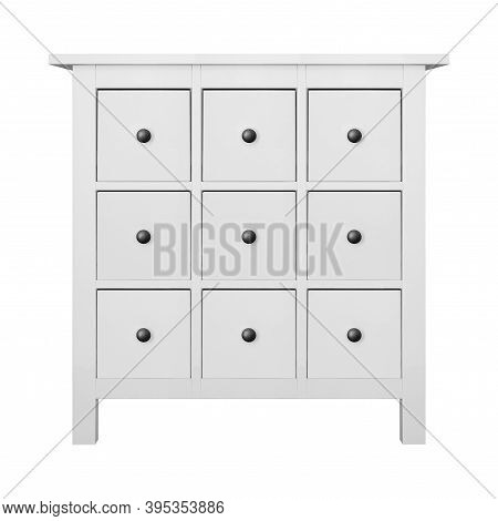 House Furniture - Modern Nine Drawers Narrow Commode Isolated White Background.