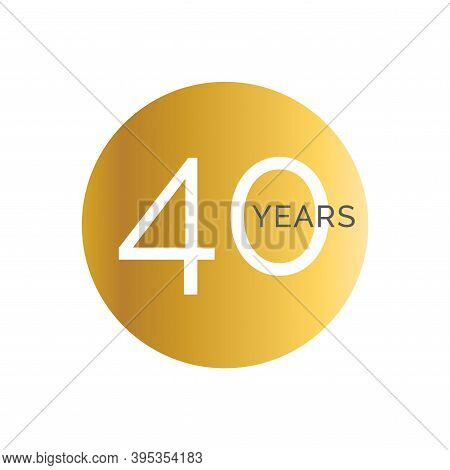 40th Anniversary Gold Banner Template, Fortieth Jubilee Labels, Business Birthday Logo, Vector Illus