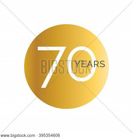 70th Anniversary Gold Banner Template, Seventieth Jubilee Labels, Business Birthday Logo, Vector Ill
