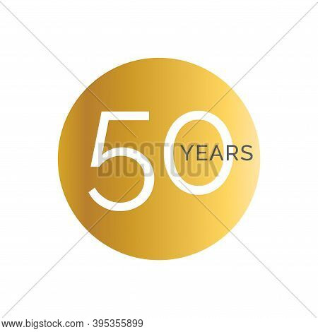 50th Anniversary Gold Banner Template, Fiftieth Jubilee Labels, Business Birthday Logo, Vector Illus