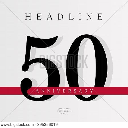 50th Anniversary Banner Template, Journal Cover Design Template, Fiftieth Jubilee Release, Business