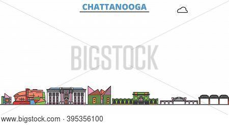 United States, Chattanooga Line Cityscape, Flat Vector. Travel City Landmark, Oultine Illustration,