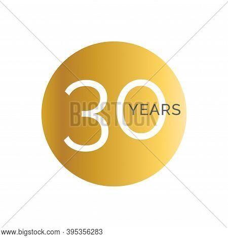 30th Anniversary Gold Banner Template, Thirtieth Jubilee Labels, Business Birthday Logo, Vector Illu