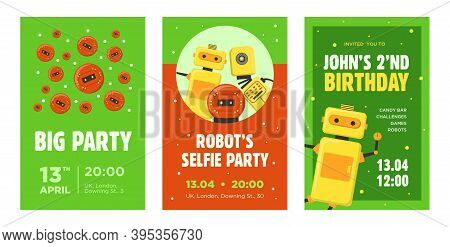Party Invitation Cards Set. Robots, Humanoids, Cyborgs, Intelligent Machines Vector Illustrations Wi