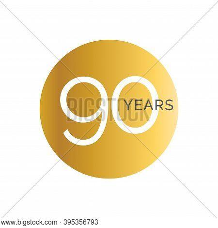 90th Anniversary Gold Banner Template, Ninety Jubilee Labels, Business Birthday Logo, Vector Illustr