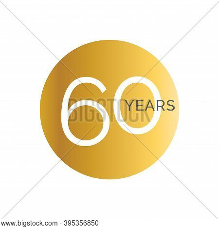 60th Anniversary Gold Banner Template, Sixtieth Jubilee Labels, Business Birthday Logo, Vector Illus