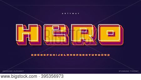 Superhero Alphabet. Cartoon 3d Old Style Font, Colorful Shadow Type For Modern For Super Hero Logo,