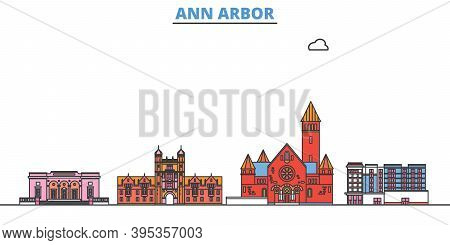United States, Ann Arbor Line Cityscape, Flat Vector. Travel City Landmark, Oultine Illustration, Li