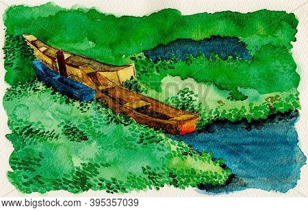 Colorful Small Wooden Boats Moored Amid Aquatic Vegetation. Near The Tropical Beach Of Itaunas In Th